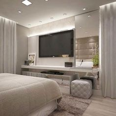 56 cool and fun bedroom tv wall design ideas 1 Bedroom Tv Wall, Home Decor Bedroom, Modern Bedroom, Bedroom Ideas, Luxury Bedroom Design, Master Bedroom Design, Master Suite, Tv Wand Design, Room Interior