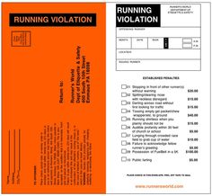Running violations! Too funny!