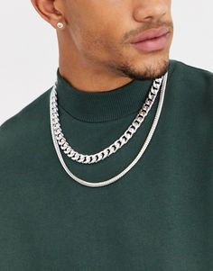 Find the best selection of ASOS DESIGN double layer neckchain in silver tone. Shop today with free delivery and returns (Ts&Cs apply) with ASOS! Latest Trends, Layers, Chain, Asos Men, Silver, Christmas 2019, Stuff To Buy, Shopping, Jewelry