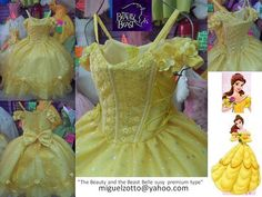 Belle disney princess yellow dress The Beauty and The Beast gown bride girl bridesmaid medieval christening party quince pageant XV costume. $100.00, via Etsy.