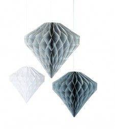 Waben-Diamant-Set - silber, grau, weiß - 3-teilig