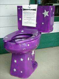 purple commode with stars