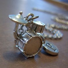 Personalized Drum Set Charm Necklace Silver Drum by FiftyEighteen, $16.00
