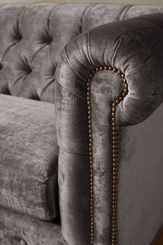 Slub Velvet Lyre Chesterfield Sofa, Hickory