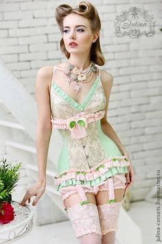 mint + rose vintage lingerie corset...looks good on her at least...id never be able to pull it off