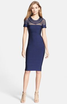 Free shipping and returns on Herve Leger Mesh Panel Bandage Pencil Dress at Nordstrom.com. A sheer mesh yoke offers sporty verve atop a sinuous bandage dress constructed from stretchy knit panels that hug every curve from start to finish. A two-way zipper traveling the full length of the back adds modern utilitarian polish.