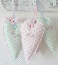 polka dots fabric hearts