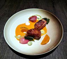 Crispy Duck • Carrot Puré with Orange & Sea Buckthorn • Feta • Grilled Lemon Cremé • Balsamico Cured Onion