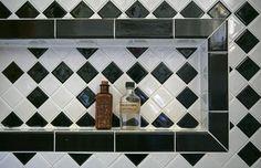 "Gail & Chil's ""Dead Grandmother"" Style Art Nouveau, Bathroom Styling, Bathroom Ideas, Bathroom Designs, Black And White Tiles Bathroom, Shower Storage, Built In Shelves, Built Ins, Vintage Bathrooms"
