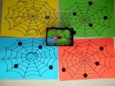 Spinnenwebben en spinnen in verschillende kleuren. Jongste kleuters: sorteeroefening. Oudste kleuters: luisterdictee vb. Jouw spinnenweb is rood, met 3 blauwe spinnen op en 1 gele. Ook leuk met opdrachtkaarten *liestr*