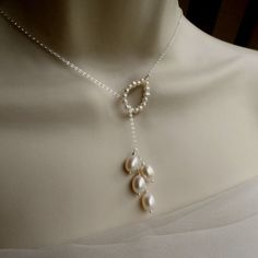 Items similar to Willow Lariat Necklace, White Freshwater Pearls and Sterling Silver, Great Wedding Bridal Jewelry on Etsy