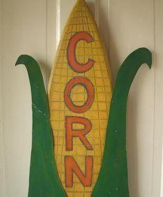 Folk Art CORN Sign - Primitive Farm Stand Sign 40 in.. $125.00, via Etsy.