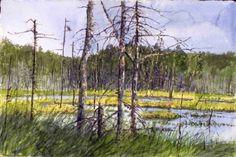 Artist: Tom Forrestall, Title: Crane 15 x Inches Alex Colville, Magic Realism, Crane, Northern Lights, Toms, Fine Art, Gallery, Watercolor Art, Artist