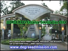 JIPMER MBBS Entrance Examination 2014  #JIPMER has invited applications for #admission to its #MBBS course  To Know  more details call us 044-6460 6333 / 09841296333 http://www.degreeadmission.com/blog/JIPMER-MBBS-Entrance-Examination-2014/