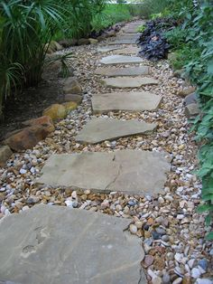 Austin lawn drainage, dry creek beds stepping stone pathway, back garden design, backyard Landscaping With Rocks, Front Yard Landscaping, Backyard Landscaping, Backyard Ideas, Stone Landscaping, Front Walkway, Easy Landscaping Ideas, Sloped Backyard, Modern Backyard