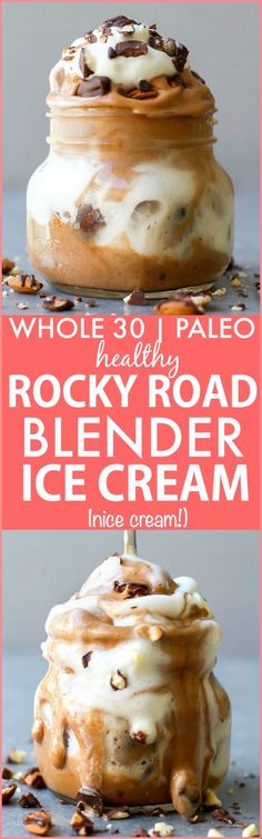Clean Eating Blender Rocky Road Ice Cream (Whole Paleo, vegan, gluten free)- friendly fruit based nice cream made in a blender- NO cream or butter and completely dairy free and sugar free! {vegan, gluten free, paleo recipe} Source by gfshoestring Paleo Dessert, Paleo Sweets, Healthy Desserts, Dessert Recipes, Healthy Recipes, Simple Recipes, Healthy Eats, Dinner Recipes, Rocky Road Eis