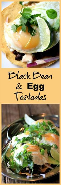 Black Bean and Egg Tostadas. An easy, casual, Summer entertaining recipe from @chef_lynn and @eggsoeufs, posted on Noshing with the Nolands. #SummerSideUp