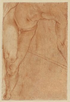 Pontormo (Jacopo Carucci), 1494-1557, Italian, Reclining Figure (verso), 1520.  Red chalk with some stumping; 29.4 x 20 cm.  J. Paul Getty Museum, Los Angeles.  Mannerism.