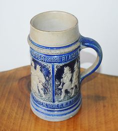Cobalt Blue Salt Glazed Stein, Antique Beer Stein, 1 Liter Mug Christmas Gifts For Him, Top Band, Beer Stein, Christmas Shopping, Trinket Boxes, Cobalt Blue, Valentine Gifts, Glaze, Salt
