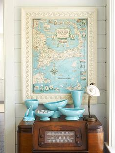 Cape Cod map, turquoise vases and charming shell lamp. A vintage map gives this entryway cottage style. Do It Yourself Design, Affordable Wall Art, Framed Maps, Wall Maps, Beach House Decor, Home Decor, Cool Ideas, Art Ideas, Decor Ideas