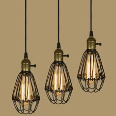 NEW EDISON VINTAGE PENDANT LIGHT CHANDELIER Rustic Wire Cage Ceiling Lamp E27 #Unbranded