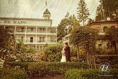 Wedding portrait in the gardens of the Hotel De Haro in Roche Harbor on San Juan Island