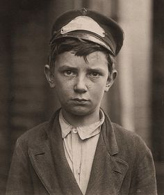 Richard Pierce, age 14, a Western Union Telegraph Co. messenger, Nine months in service, works from 7 am to 6 pm, smokes and visits houses of prostitution, Wilmington, Delaware, by Lewis Wickes Hine