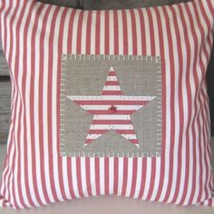 Handmade Red Ticking Applique Star Cushion £28.50