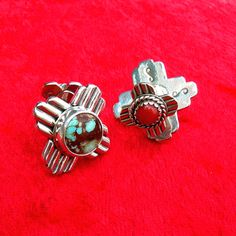 New Mexico Double Zia Symbol Turquoise & Coral Cuff Links by Santa Fe Silverworks