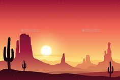 Desert Landscape by Binkski A Desert Landscape with Mountains and Sunset, Sunrise. Fully editable vector EPS 10 , gradients and transparencies used.