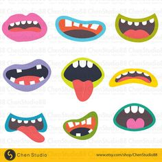 Monster Mouths vector Digital Clipart Instant by ChenStudio88