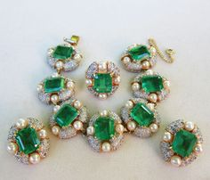 NETTIE ROSENSTEIN BIG EMERALD RHINESTONES & PEARLS BRACELET~EARRINGS & RING SET #NettieRosenstein