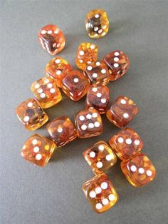 Baltic Amber Dice Natural Hand Made Honey Color 19x19mm One Piece