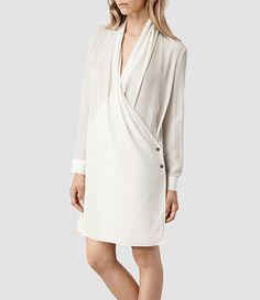 Womens Serra Shirt Dress (Chalk)   ALLSAINTS.com