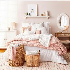 follow @bluebirdkisses on instagram for more - pink and white bedroom inspiration - homehoods photo with art from Lucy Atkins
