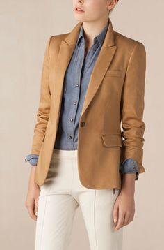 massimo dutti 2011. Denim shirt & camel blazer