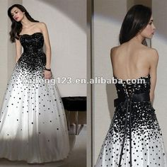 Elaborate Strapless Ball Gown Floor-length White Black Sequined Tulle Lace Up Back Prom Dress