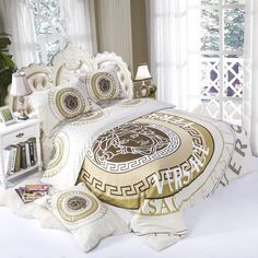 bedding set duvet cover pillowcase bed sheets pure versace modern beautiful design soft and pleasing cotton will fit Bedding Sets, Bed Linen Design, Bed Design, Duvet Bedding Sets, Designer Bed Sheets, Luxury Bedding, Gold Bed, Favorite Bedding, Versace Bedding