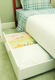 IHeart Organizing: UHeart Organizing: A Darling Drawer DIY- drawers, add wheels, you have under the bed storage Under Bed Drawers, Ikea Drawers, Under Bed Storage, Diy Storage, Drawer Storage, Rolling Storage, Dresser Drawers, Extra Storage, Kitchen Storage