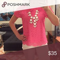 🆕J Crew scalloped hot pink lace tee Perfect for summer!  Good condition! J. Crew Tops Tees - Short Sleeve