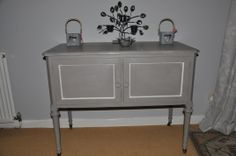 Shabby Chic sideboard/cupboard hand painted in Annie Sloan 'French Linen' and 'Old White' £135