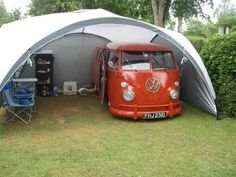 VW Camper Split in Coleman Event tent