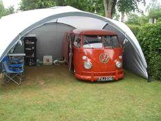 VW Camper Split in Coleman Event tent