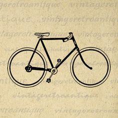 Digital Printable Bicycle Image Bike Graphic Download Artwork Jpg Png Eps 18x18 HQ 300dpi No.4147 @ vintageretroantique.etsy.com