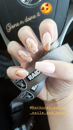 Pink Nude coffin nails with rose gold foil ❤️