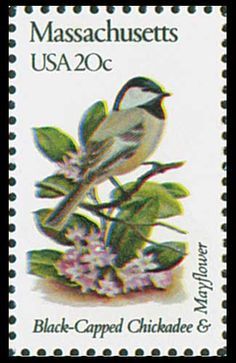 1982 Massachusetts State Stamp -  State Bird Black- Capped Chickadee - State Flower Mayflower