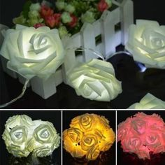 Online Shop Brand New 2014 20 LED Festival Rose String Light Fairy Lights Christmas Xmas Party Wedding Christmas Lamp, Decorating With Christmas Lights, Holiday Lights, Christmas Wedding, Christmas Decorations, Reindeer Christmas, Garden Party Wedding, Romantic Roses, Valentines Day Decorations