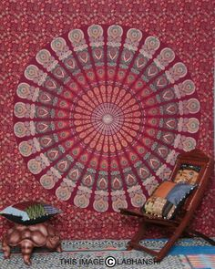 Indian Mandala Peacock Bedspread Blanket Throw Indian Tapestry Wall Hanging
