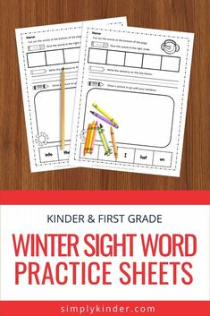 Grab our free winter sight word practice sheets. Perfect for Kindergarten students working on their reading and writing skills. Click over to download and print. Reading Practice, Reading Skills, Writing Skills, Learning Sight Words, Sight Word Practice, Teaching Calendar, Writing Station, Sight Word Worksheets, High Frequency Words