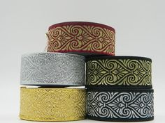 10m Jacquard Ribbon/Trim Medieval  33mm width Various colours available